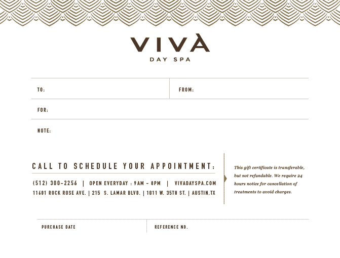 Image of a Viva Day Spa instant gift certificate design that can be sent via email or printed out.