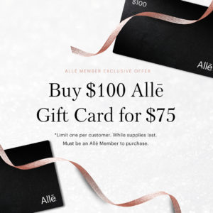 2020 Holiday Gift Card offer for Alle Members. Buy A $100 Alle Gift Card for $50.